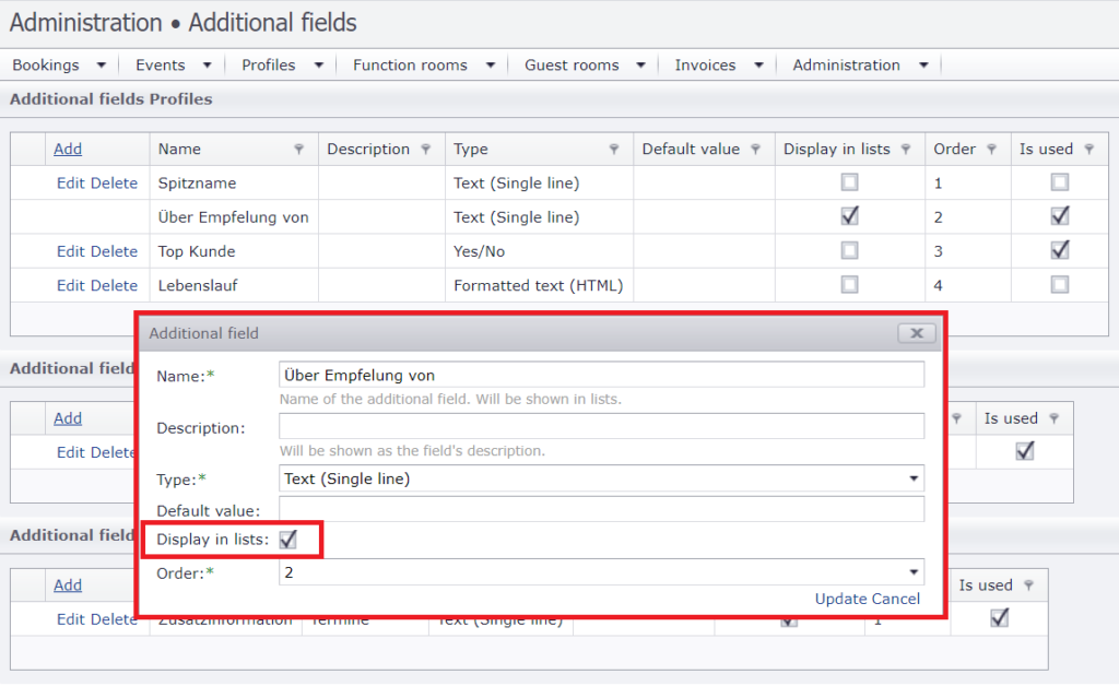 Display extra fields in lists